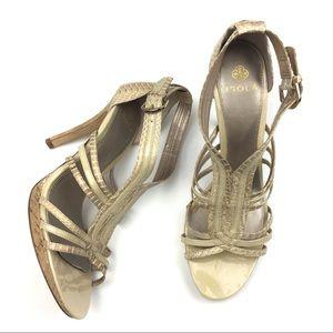 Isola strappy Snakeskin Print heels, size 9.5
